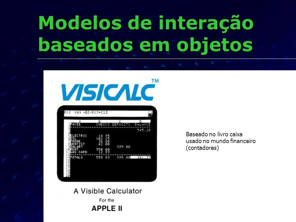 Modelos de interação baseados em objetos Baseado no livro caixa usado no mundo financeiro (contadores)
