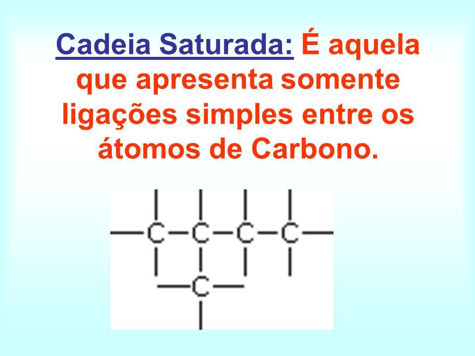 Cadeia Saturada: É aquela que apresenta somente ligações simples entre os átomos de Carbono.