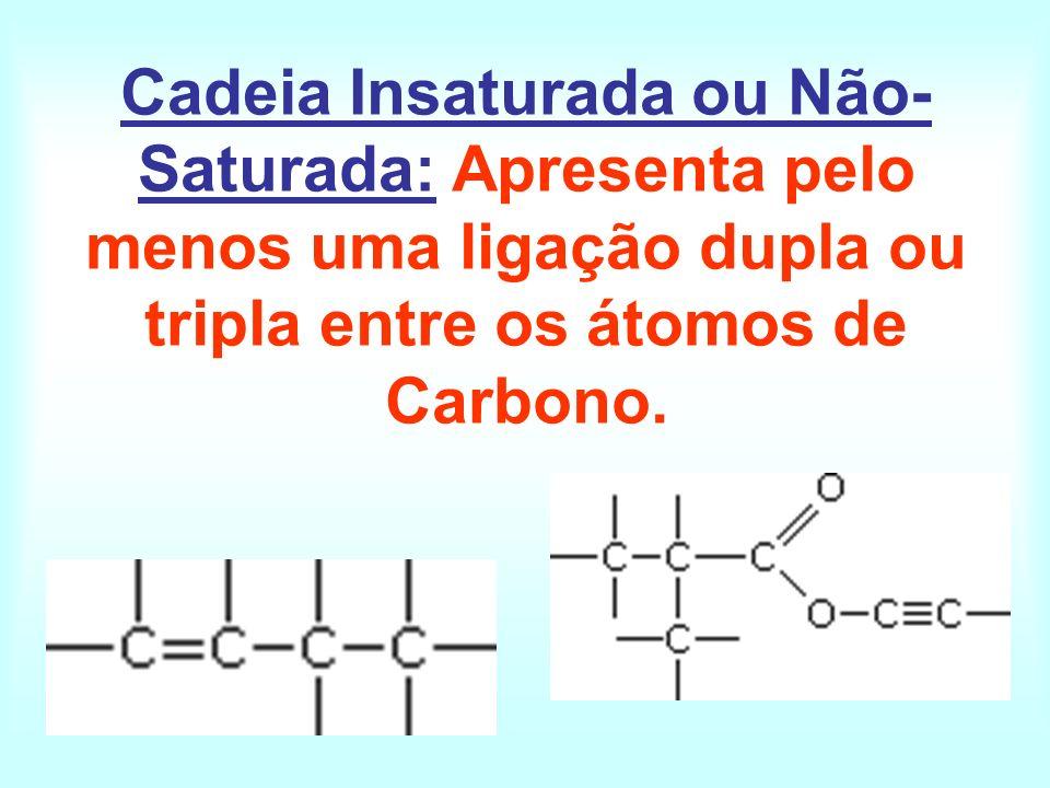 Cadeia Insaturada ou Não- Saturada: Apresenta pelo menos uma ligação dupla ou tripla entre os átomos de Carbono.