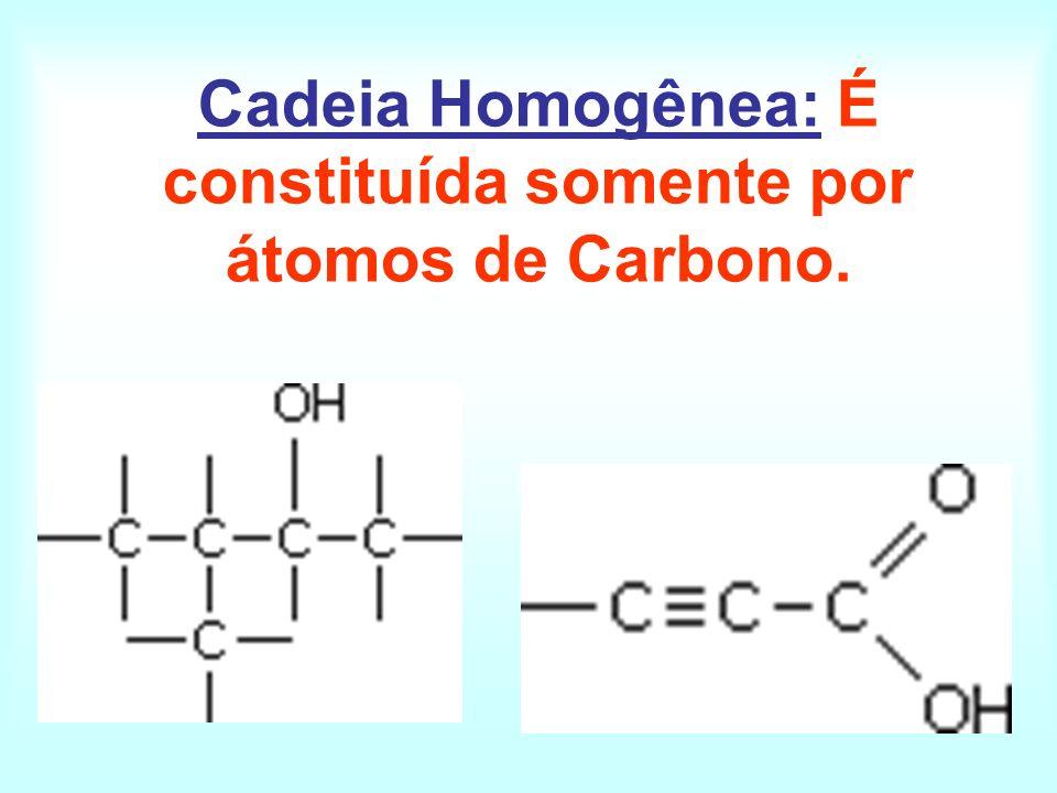 Cadeia Homogênea: É constituída somente por átomos de Carbono.