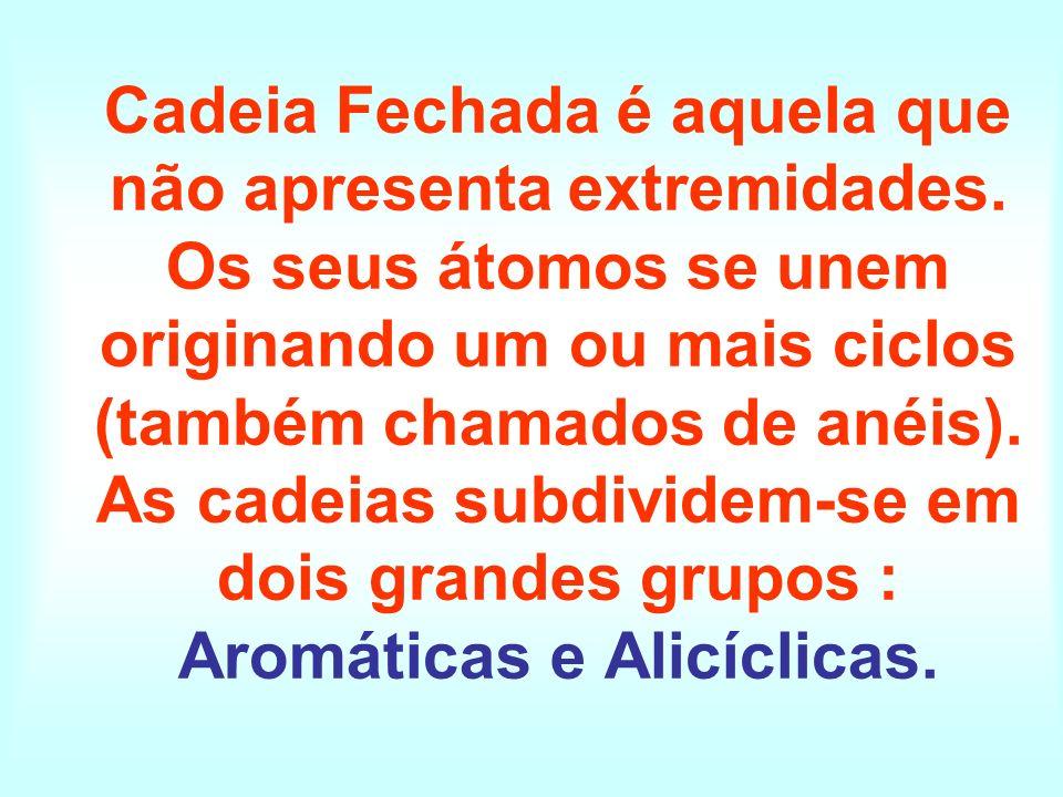 Cadeia Fechada é aquela que não apresenta extremidades. Os seus átomos se unem originando um ou mais ciclos (também chamados de anéis). As cadeias sub