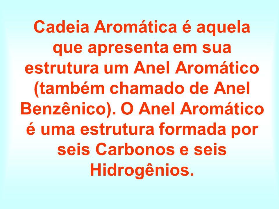Cadeia Aromática é aquela que apresenta em sua estrutura um Anel Aromático (também chamado de Anel Benzênico). O Anel Aromático é uma estrutura formad