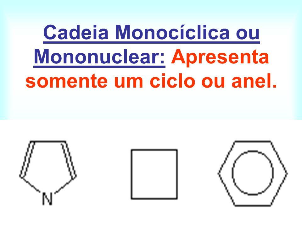 Cadeia Monocíclica ou Mononuclear: Apresenta somente um ciclo ou anel.