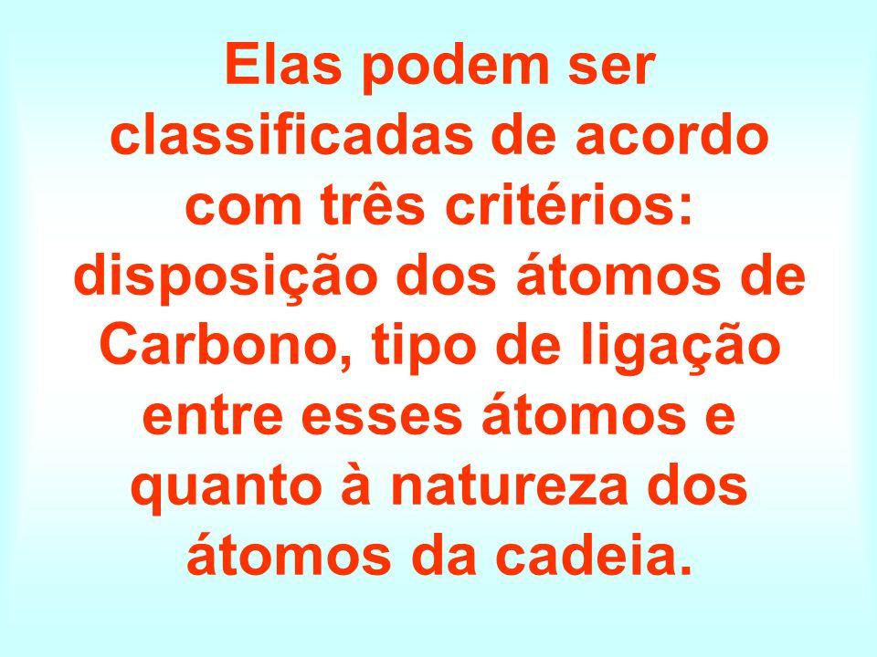 Elas podem ser classificadas de acordo com três critérios: disposição dos átomos de Carbono, tipo de ligação entre esses átomos e quanto à natureza do