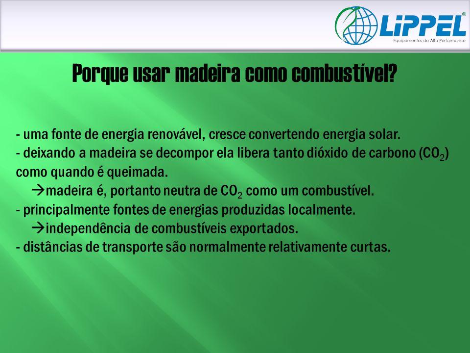 Porque usar madeira como combustível? - uma fonte de energia renovável, cresce convertendo energia solar. - deixando a madeira se decompor ela libera