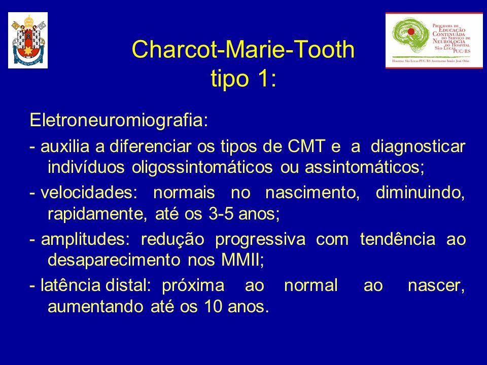 Eletroneuromiografia: - auxilia a diferenciar os tipos de CMT e a diagnosticar indivíduos oligossintomáticos ou assintomáticos; - velocidades: normais