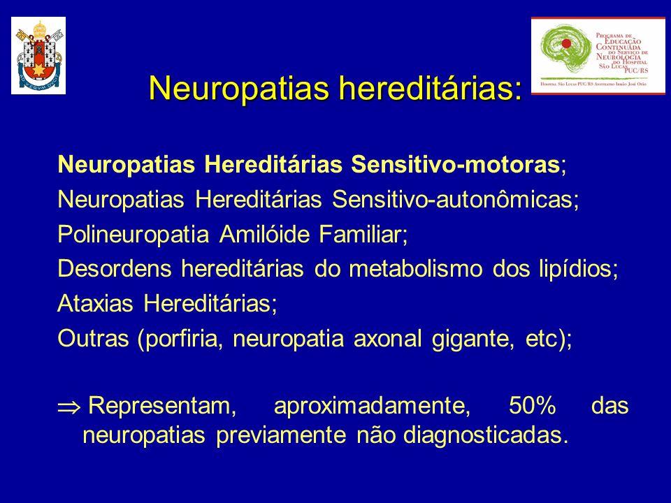 - herança autonômica recessiva; - polineuropatia sensitivo-motora severa de início na infância (muito semelhante a CMT3); - subtipos: CMT4A 8q13-21.1 CMT4B 11q23 MTMR2 (hipermielinização) CMT4C 5q23-33 (PNP axonal) CMT4D ou NHSM-Lom 8q24 NDRG1 (surdez) CMT4F 19q13.1-13.3 Periaxina Charcot-Marie-Tooth tipo 4: