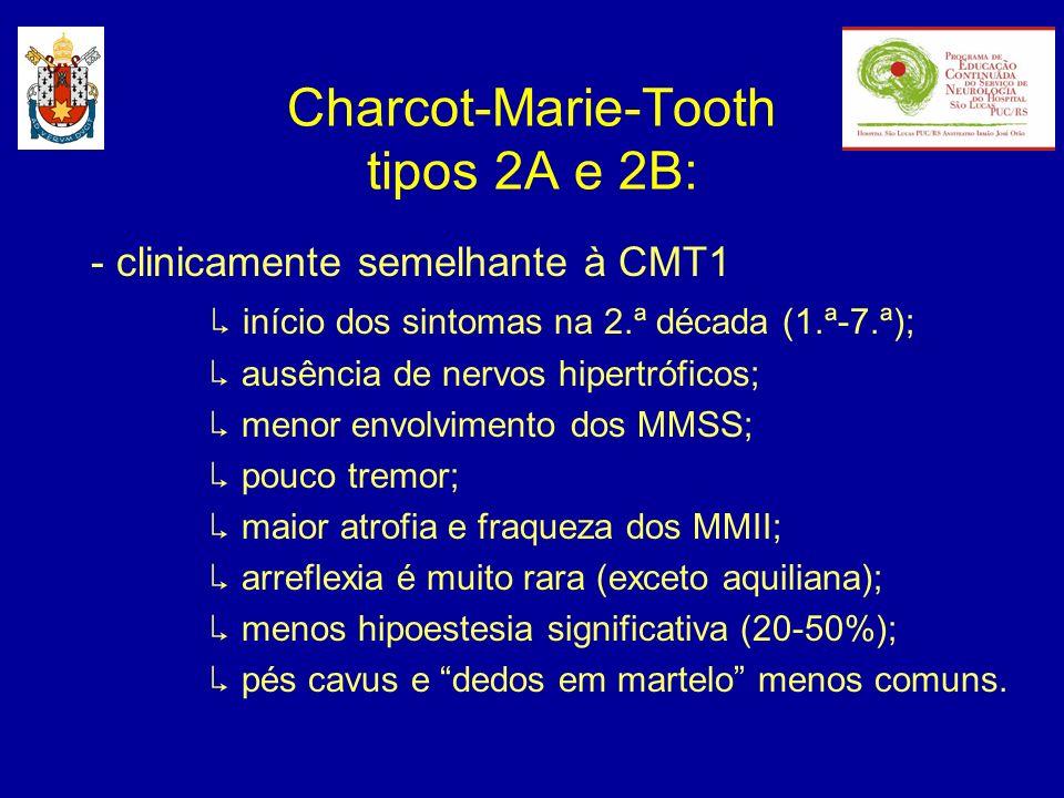 - clinicamente semelhante à CMT1 início dos sintomas na 2.ª década (1.ª-7.ª); ausência de nervos hipertróficos; menor envolvimento dos MMSS; pouco tre