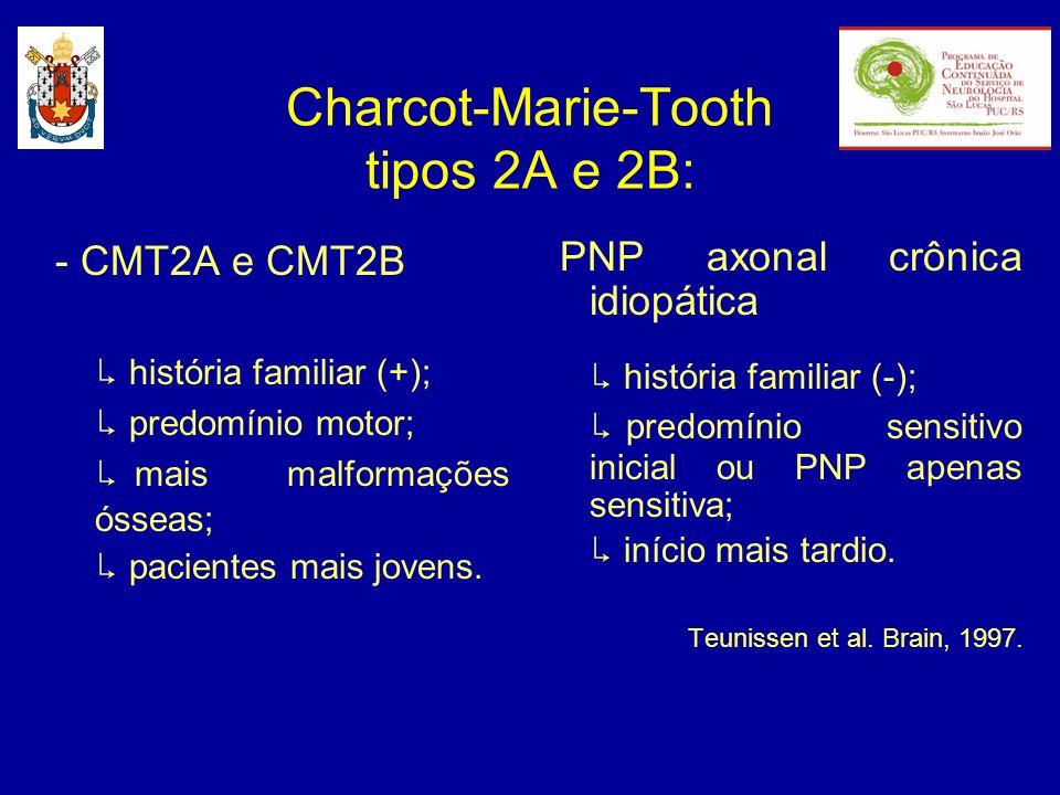 - CMT2A e CMT2B história familiar (+); predomínio motor; mais malformações ósseas; pacientes mais jovens. PNP axonal crônica idiopática história famil