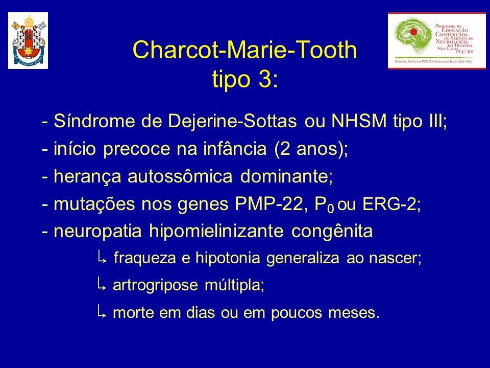 - Síndrome de Dejerine-Sottas ou NHSM tipo III; - início precoce na infância (2 anos); - herança autossômica dominante; - mutações nos genes PMP-22, P