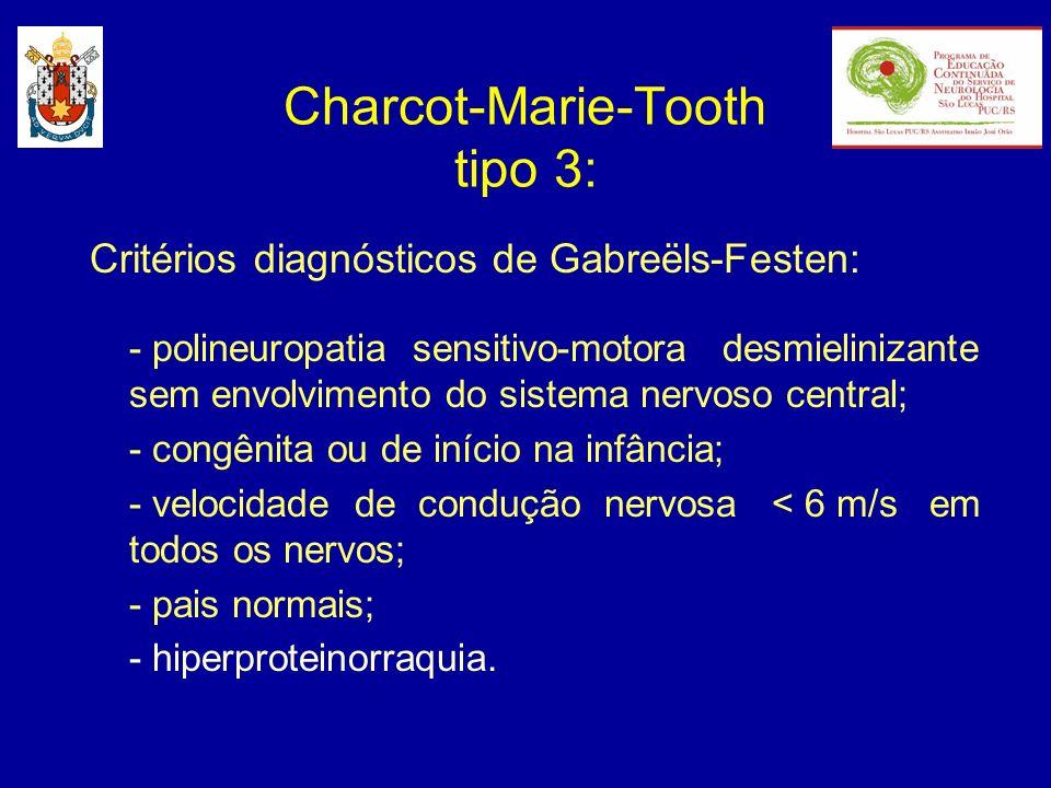 Critérios diagnósticos de Gabreëls-Festen: - polineuropatia sensitivo-motora desmielinizante sem envolvimento do sistema nervoso central; - congênita