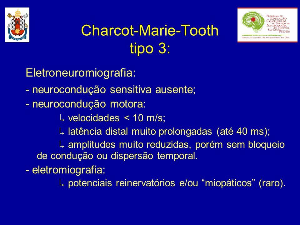 Eletroneuromiografia: - neurocondução sensitiva ausente; - neurocondução motora: velocidades < 10 m/s; latência distal muito prolongadas (até 40 ms);