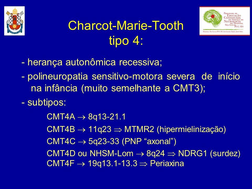 - herança autonômica recessiva; - polineuropatia sensitivo-motora severa de início na infância (muito semelhante a CMT3); - subtipos: CMT4A 8q13-21.1