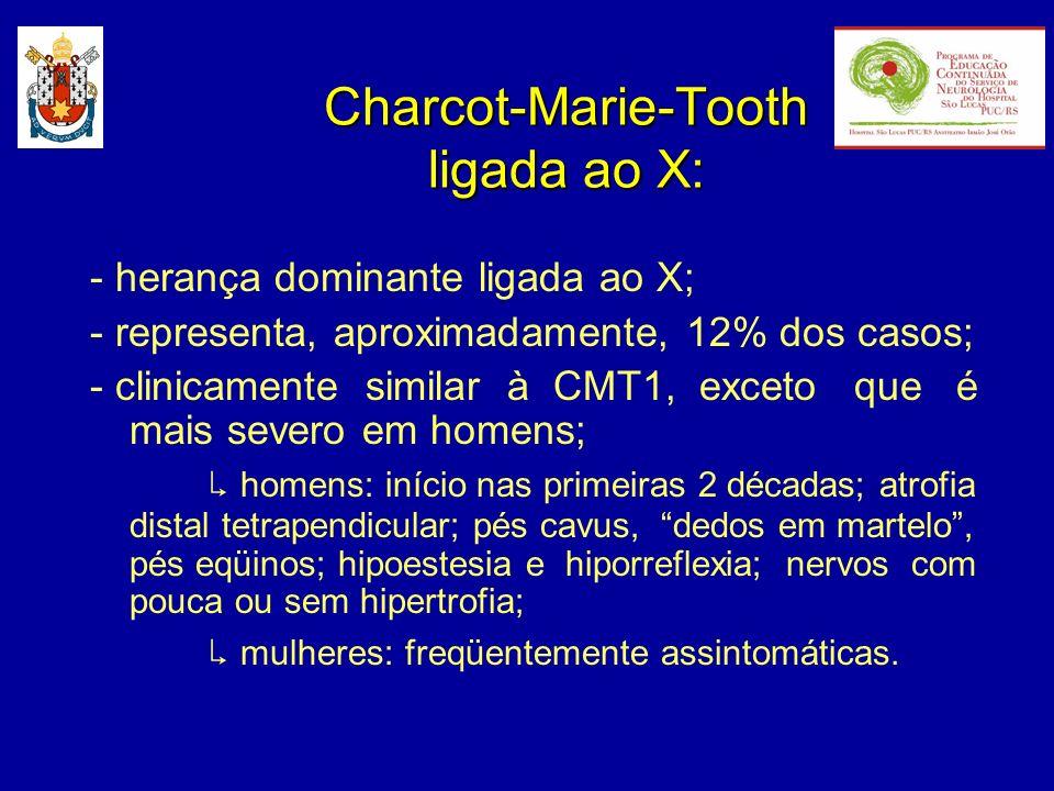 Charcot-Marie-Tooth ligada ao X: - herança dominante ligada ao X; - representa, aproximadamente, 12% dos casos; - clinicamente similar à CMT1, exceto