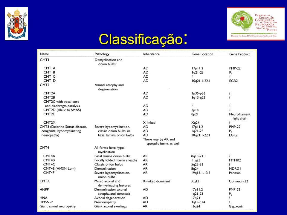 Charcot-Marie-Tooth tipo 1: - também conhecida como NHSM tipo I ou CMT hipertrófica; - uma das doenças genéticas mais freqüentes: 1/2500 indivíduos; - neuropatia hereditária mais comum: CMT1: CMT2 2:1 - herança autonômica dominante; - início entre a 1.ª e a 3.ª décadas.