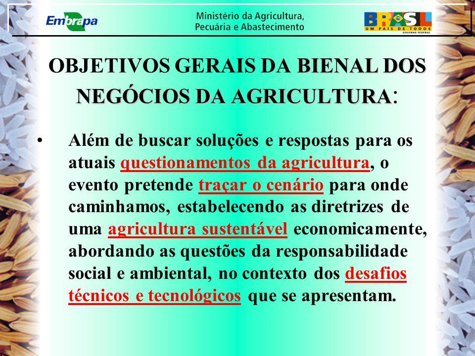 BIENAL DOS NEGÓCIOS DA AGRICULTURA OBJETIVOS GERAIS DA BIENAL DOS NEGÓCIOS DA AGRICULTURA : Além de buscar soluções e respostas para os atuais questio