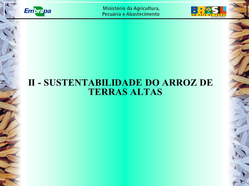 II - SUSTENTABILIDADE DO ARROZ DE TERRAS ALTAS