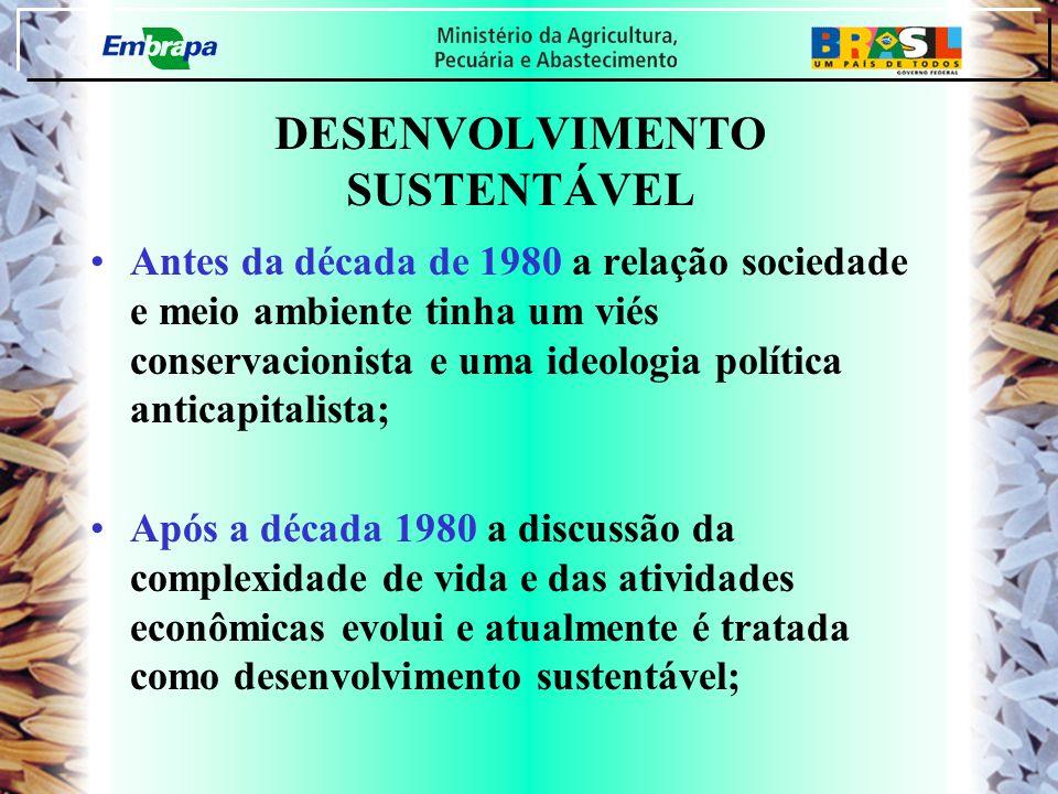 DESENVOLVIMENTO SUSTENTÁVEL Antes da década de 1980 a relação sociedade e meio ambiente tinha um viés conservacionista e uma ideologia política antica