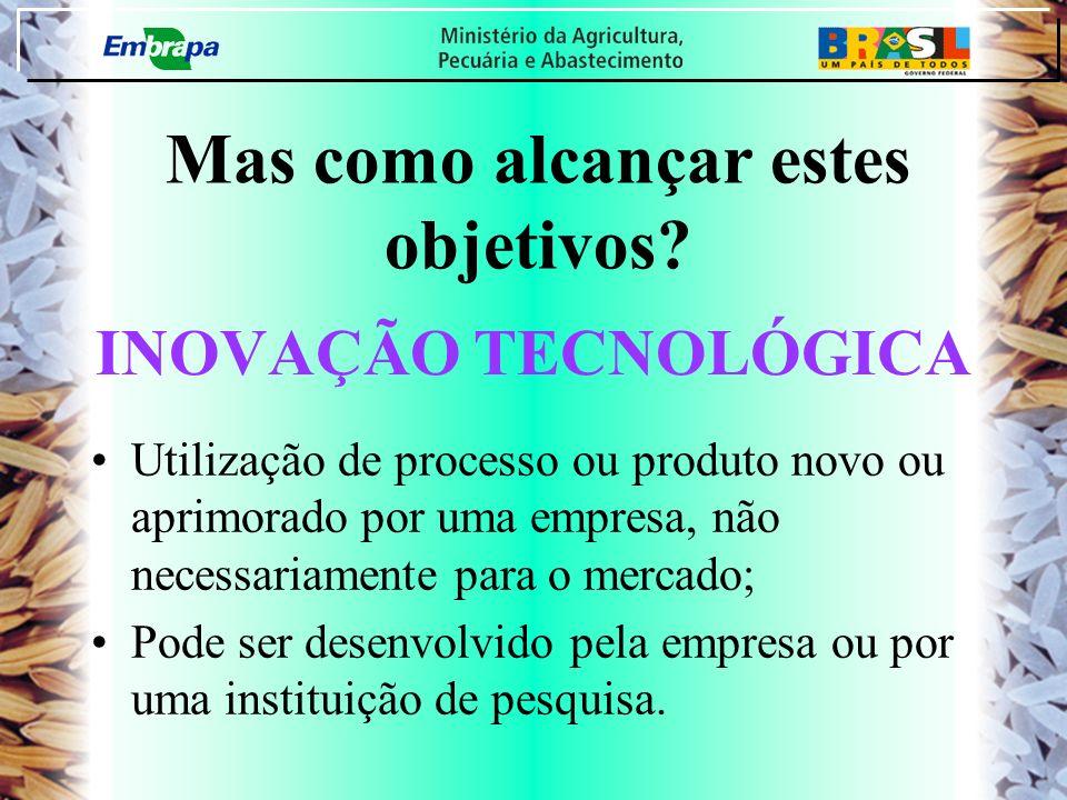 INOVAÇÃO TECNOLÓGICA Utilização de processo ou produto novo ou aprimorado por uma empresa, não necessariamente para o mercado; Pode ser desenvolvido p