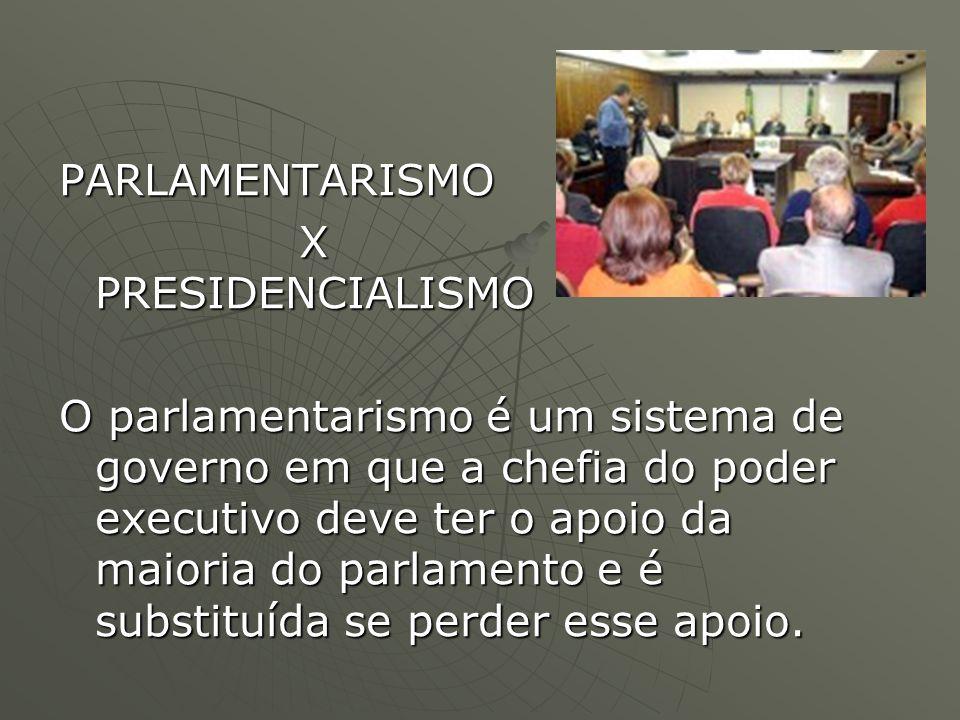 Tanto o parlamentarismo como o presidencialismo se baseiam na divisão dos poderes do Estado entre executivo, legislativo e judiciário.