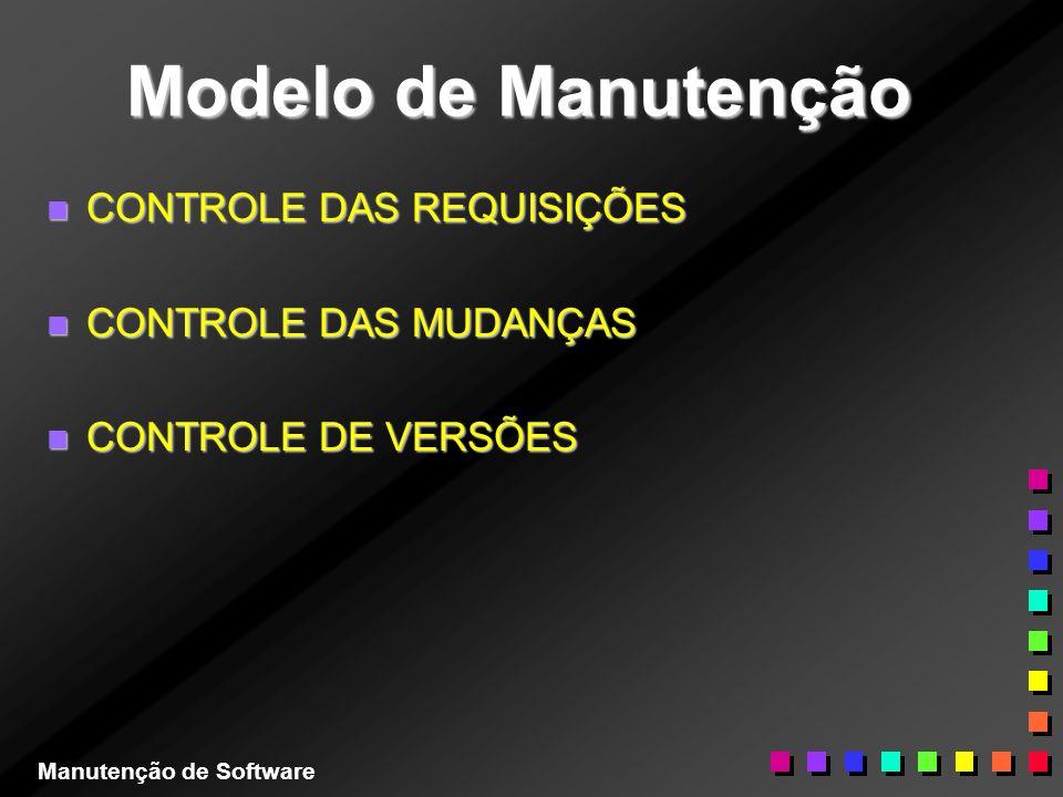 Modelo de Manutenção n CONTROLE DAS REQUISIÇÕES n CONTROLE DAS MUDANÇAS n CONTROLE DE VERSÕES Manutenção de Software