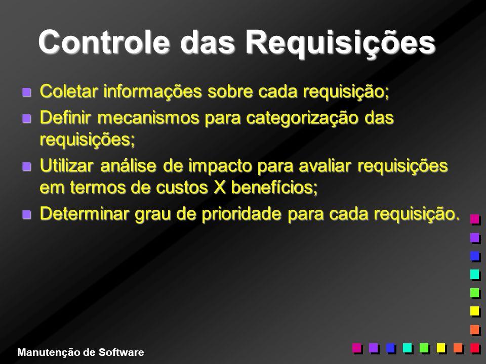 Controle das Requisições n Coletar informações sobre cada requisição; n Definir mecanismos para categorização das requisições; n Utilizar análise de i