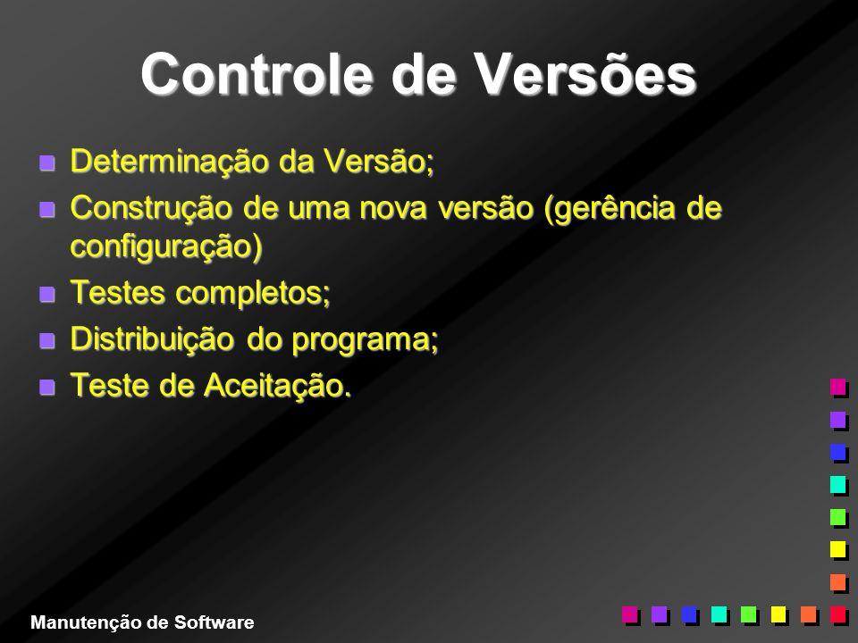 Controle de Versões n Determinação da Versão; n Construção de uma nova versão (gerência de configuração) n Testes completos; n Distribuição do program