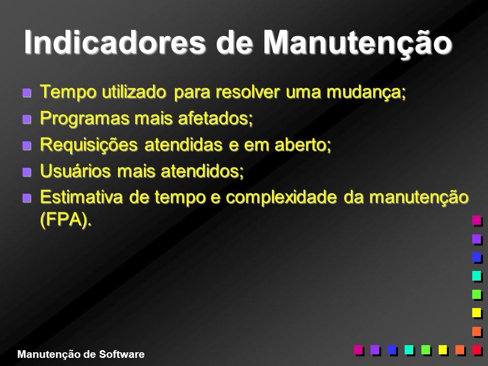 Indicadores de Manutenção n Tempo utilizado para resolver uma mudança; n Programas mais afetados; n Requisições atendidas e em aberto; n Usuários mais
