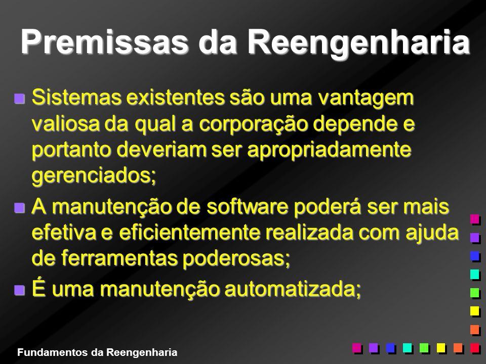 Premissas da Reengenharia n Sistemas existentes são uma vantagem valiosa da qual a corporação depende e portanto deveriam ser apropriadamente gerencia