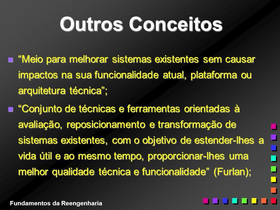 Outros Conceitos n Meio para melhorar sistemas existentes sem causar impactos na sua funcionalidade atual, plataforma ou arquitetura técnica; n Conjun