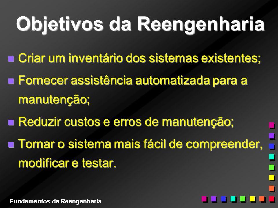 Objetivos da Reengenharia n Criar um inventário dos sistemas existentes; n Fornecer assistência automatizada para a manutenção; n Reduzir custos e err