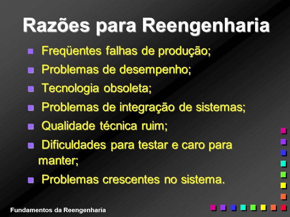 Razões para Reengenharia Freqüentes falhas de produção; n Freqüentes falhas de produção; n Problemas de desempenho; n Tecnologia obsoleta; n Problemas