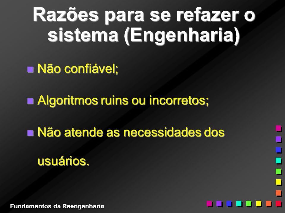 Razões para se refazer o sistema (Engenharia) n Não confiável; n Algoritmos ruins ou incorretos; n Não atende as necessidades dos usuários. Fundamento