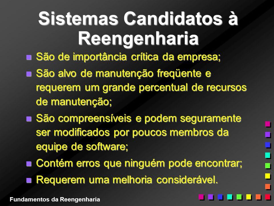 Sistemas Candidatos à Reengenharia n São de importância crítica da empresa; n São alvo de manutenção freqüente e requerem um grande percentual de recu