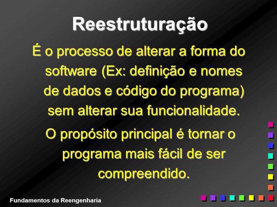 Reestruturação É o processo de alterar a forma do software (Ex: definição e nomes de dados e código do programa) sem alterar sua funcionalidade. O pro