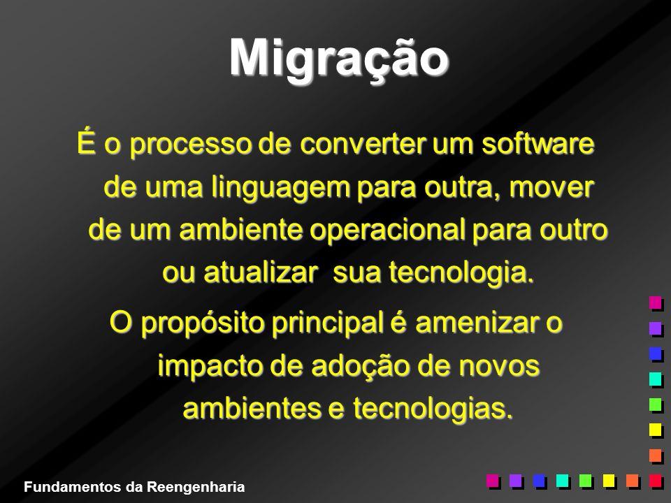 Migração É o processo de converter um software de uma linguagem para outra, mover de um ambiente operacional para outro ou atualizar sua tecnologia. O