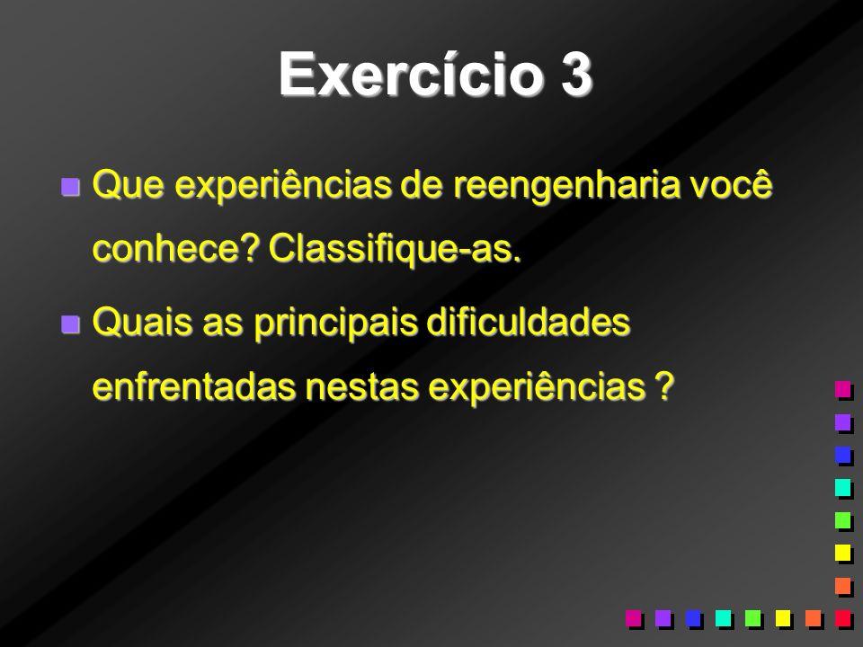 Exercício 3 n Que experiências de reengenharia você conhece? Classifique-as. n Quais as principais dificuldades enfrentadas nestas experiências ?