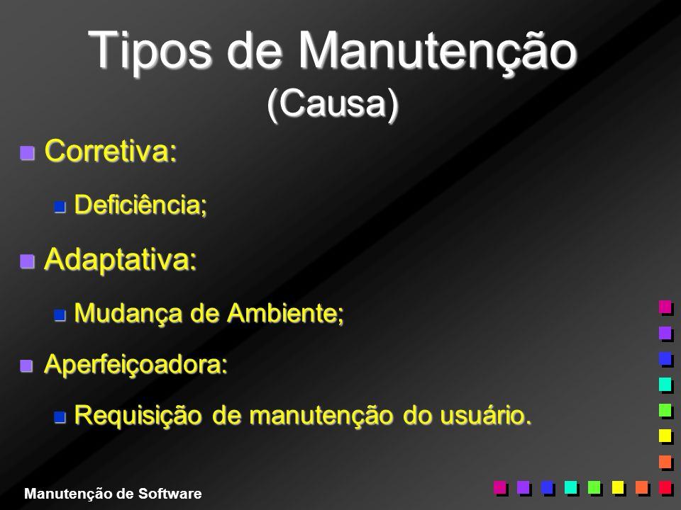 Tipos de Manutenção (Causa) n Corretiva: n Deficiência; n Adaptativa: n Mudança de Ambiente; n Aperfeiçoadora: n Requisição de manutenção do usuário.