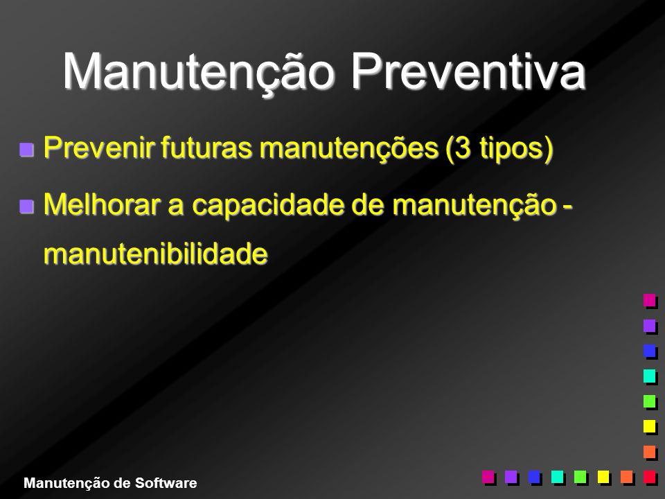 Manutenção Preventiva n Prevenir futuras manutenções (3 tipos) n Melhorar a capacidade de manutenção - manutenibilidade Manutenção de Software