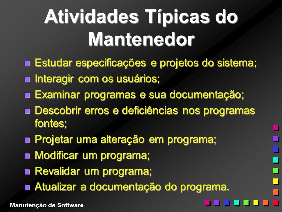 Atividades Típicas do Mantenedor n Estudar especificações e projetos do sistema; n Interagir com os usuários; n Examinar programas e sua documentação;