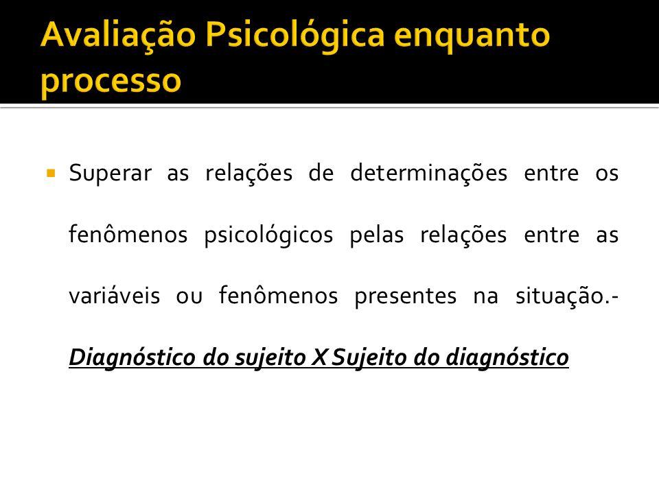 Superar as relações de determinações entre os fenômenos psicológicos pelas relações entre as variáveis ou fenômenos presentes na situação.- Diagnóstic