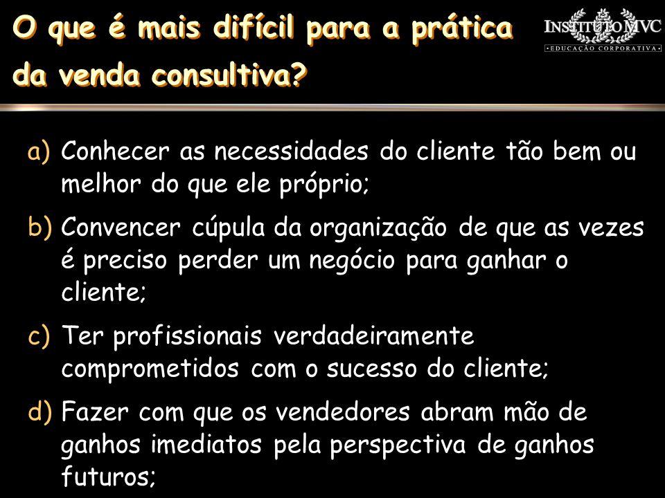 a)Conhecer as necessidades do cliente tão bem ou melhor do que ele próprio; b)Convencer cúpula da organização de que as vezes é preciso perder um negó