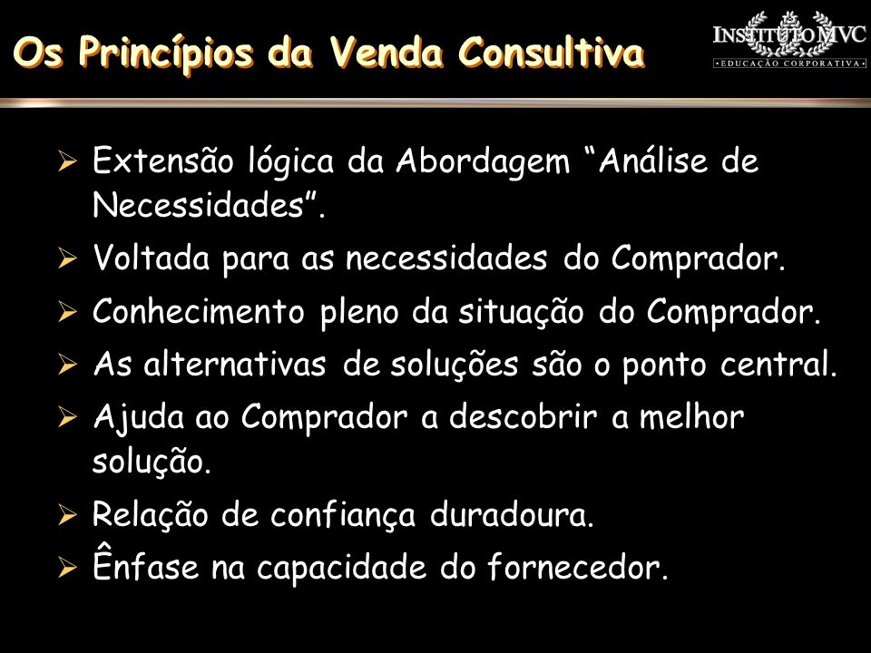 Os Princípios da Venda Consultiva Extensão lógica da Abordagem Análise de Necessidades. Voltada para as necessidades do Comprador. Conhecimento pleno