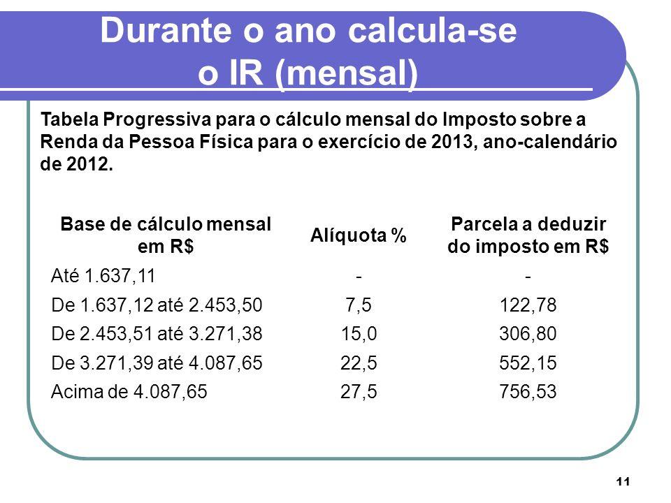 11 Durante o ano calcula-se o IR (mensal) Base de cálculo mensal em R$ Alíquota % Parcela a deduzir do imposto em R$ Até 1.637,11-- De 1.637,12 até 2.
