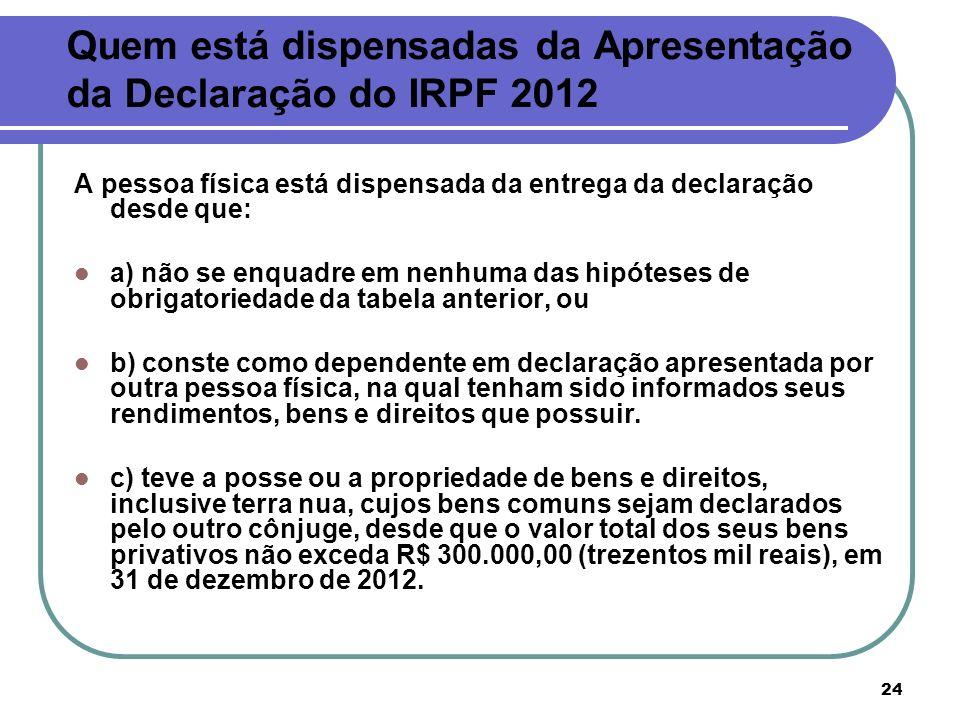 24 Quem está dispensadas da Apresentação da Declaração do IRPF 2012 A pessoa física está dispensada da entrega da declaração desde que: a) não se enqu