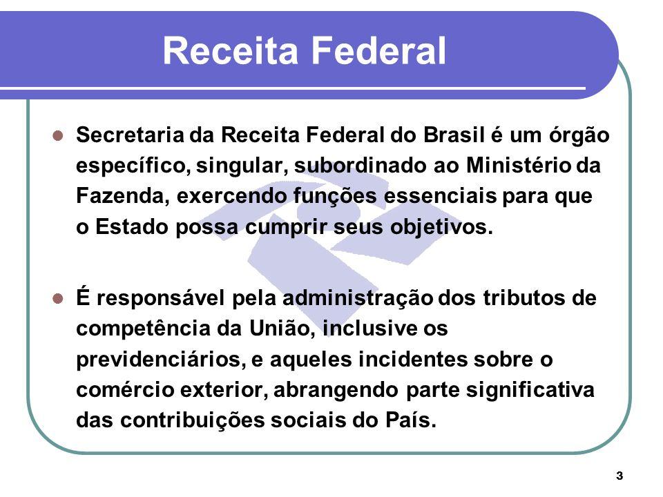 3 Receita Federal Secretaria da Receita Federal do Brasil é um órgão específico, singular, subordinado ao Ministério da Fazenda, exercendo funções ess