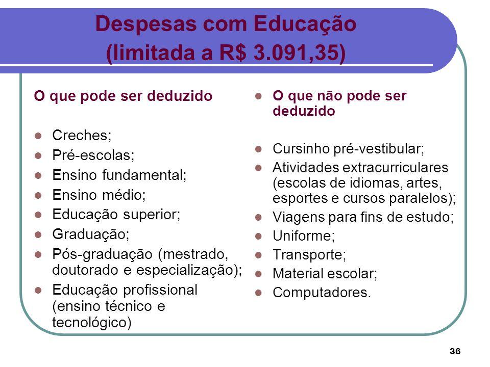 36 O que pode ser deduzido Creches; Pré-escolas; Ensino fundamental; Ensino médio; Educação superior; Graduação; Pós-graduação (mestrado, doutorado e