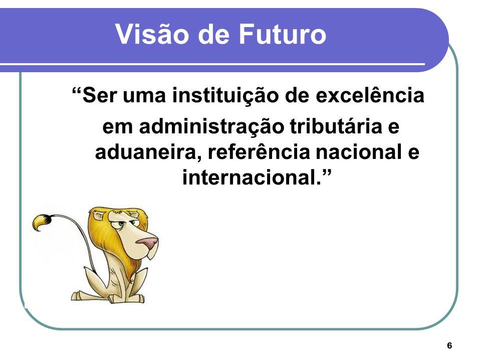 Ser uma instituição de excelência em administração tributária e aduaneira, referência nacional e internacional. 6 Visão de Futuro