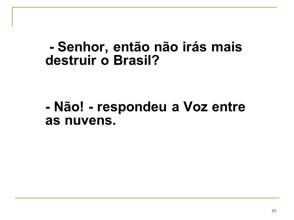 89 - Senhor, então não irás mais destruir o Brasil? - Não! - respondeu a Voz entre as nuvens.