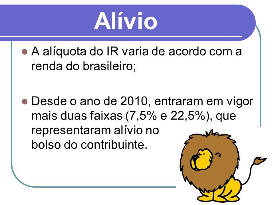 9 Alívio A alíquota do IR varia de acordo com a renda do brasileiro; Desde o ano de 2010, entraram em vigor mais duas faixas (7,5% e 22,5%), que repre
